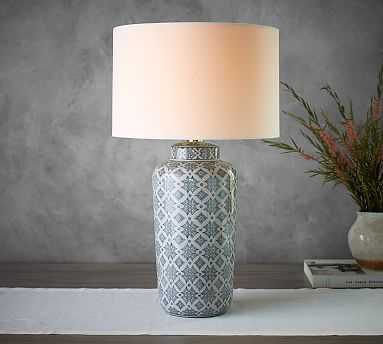 Jamie Young Langley Ceramic Cylinder Lamp, Navy - Pottery Barn
