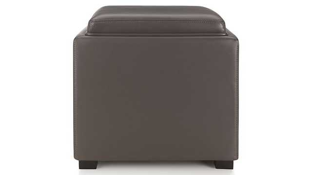 """Stow Smoke 17"""" Leather Storage Ottoman - Crate and Barrel"""