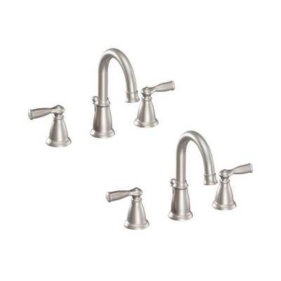 MOEN Banbury 8 in. Widespread 2-Handle High-Arc Bathroom Faucet in Spot Resist Brushed Nickel (2-Pack Combo) - Home Depot