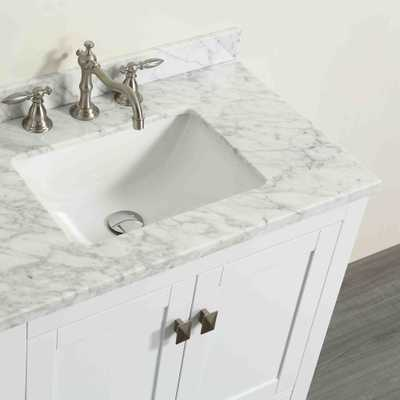 Eviva Aberdeen 29.1 in. W x 22 in. D x 35 in. H Vanity in White with Carrara Marble Vanity Top in White with White Basin - Home Depot