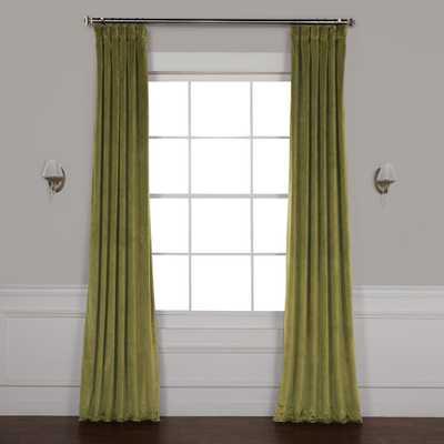 Exclusive Fabrics & Furnishings Retro Green Plush Velvet Curtain - 50 in. W x 96 in. L - Home Depot