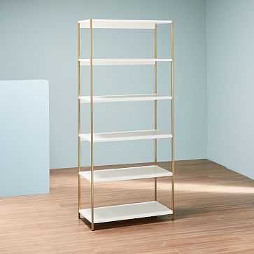 Zane Wide Bookshelf, White/Antique Brass-Individual - West Elm