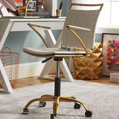 Meelano Desk Chair: Gold and White - eBay