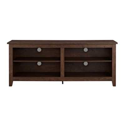 58 in. Wood TV Media Stand Storage Console - Traditional Brown - Home Depot