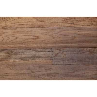 Kalinka Production 3D Grain Wood 5/16 in. x 5 in. x 24 in. Reclaimed Wood Oak Decorative Wall Planks in Brown Color (10 sq. ft. / Case), Deep Brown Color In All Depth Of The Wood - Home Depot