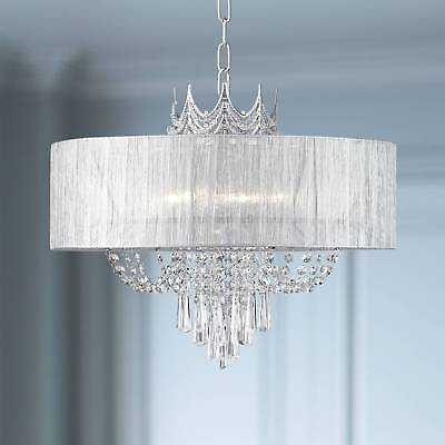 "Crystal Chandelier Pendant Crown 21"" Wide Fixture with Shade For Living Room - eBay"