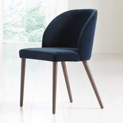 Camille Navy Velvet Dining Chair - Crate and Barrel