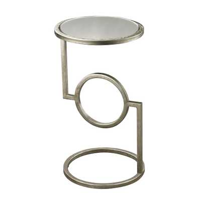 Antique Silver Mirrored Top Side Table, Antique Silver/Mirror - Home Depot