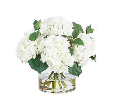 "Faux White Hydrangeas In Glass Vase, 15"" - Pottery Barn"