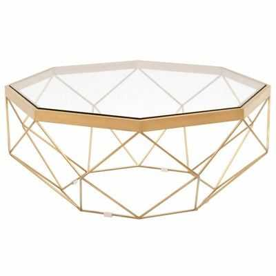 Maklaine Coffee Table in Brushed Gold and Clear Glass - eBay