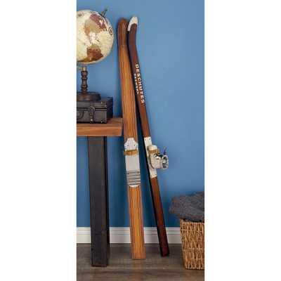 55 in. Decorative Pine Wood and Iron Ski Boot Sculpture - Home Depot