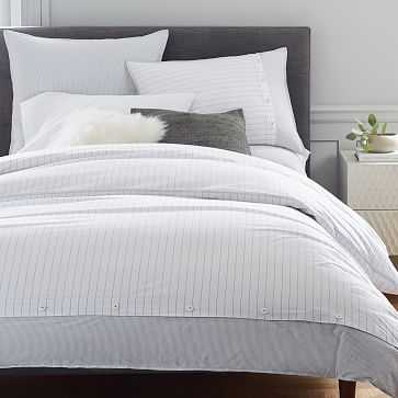 Organic Washed Cotton Stripe Duvet Cover, King, Slate - West Elm