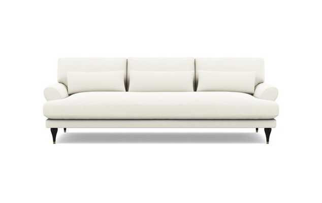 Maxwell Sofa with Ivory Fabric and Matte Black with Brass Cap legs - Interior Define