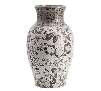 Collette Floral Vase, Gray, Large - Pottery Barn