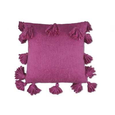 Design Source Wool Tassel Fuschia Pillow, Pink - Home Depot