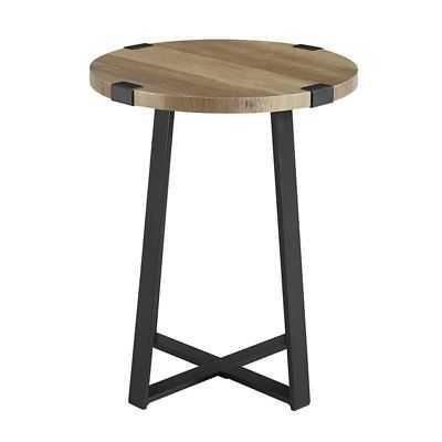 Walker Edison 18 Metal Wrap Round Side Table - Rustic Oak - eBay