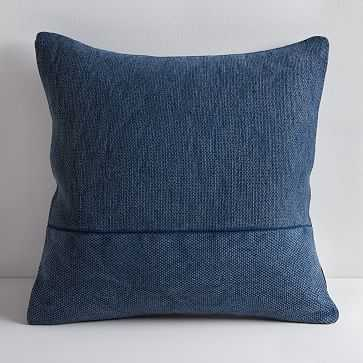 "Cotton Canvas Pillow Cover & Down Insert, 18"" x 18"", Midnight - West Elm"