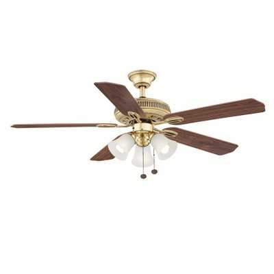 Hampton Bay Glendale 52 in. Indoor Flemish Brass Ceiling Fan with Light Kit - Home Depot