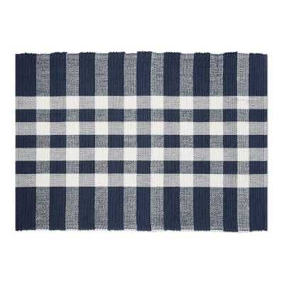 Checked Woven Place Mat, Dress Blue - Williams Sonoma