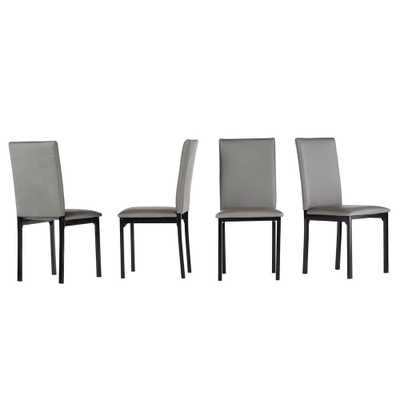 Bedford Grey Faux Leather Dining Chair (Set of 2) - Home Depot