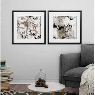 'Marble Onyx' 2 Piece Framed Print Set - Wayfair