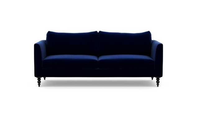 Owens Sofa with Oxford Blue Fabric and Matte Black legs - Interior Define