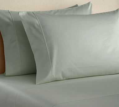 PB Essential 300-Thread-Count Fitted Sheet, Twin, Icy Blue - Pottery Barn