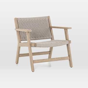 Teak Wood + Rope Outdoor Chair, Washed Brown - West Elm