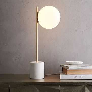 Sphere + Stem Table Lamp, Brass/Milk Glass, 1-Light - West Elm