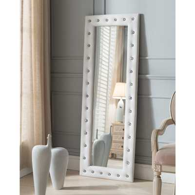 White Vinyl Upholstered with Crystals Floor Mirror - Home Depot