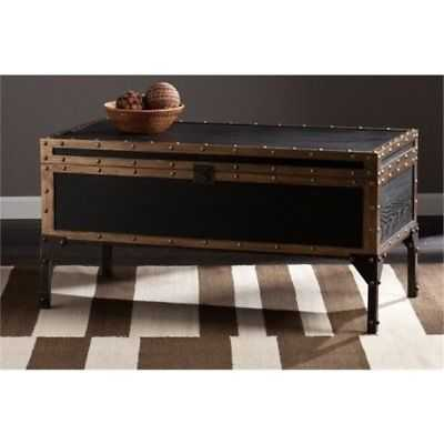Bowery Hill Travel Trunk Coffee Table in Black - eBay