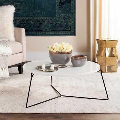 Mae Retro Mid Century Lacquer White Coffee Table, White/Black - Home Depot