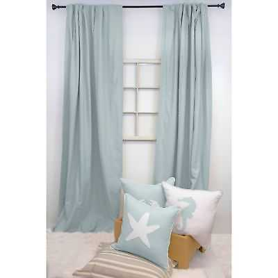 American Colors Brand Heritage Cotton Solid Curtain Panels Spa Blue: Blue - Back Tab/Pleat/Rod Pocket - 108 Inches - 108 Inches - eBay