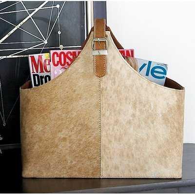 Wood and Leather Hide Magazine Holder - Birch Lane