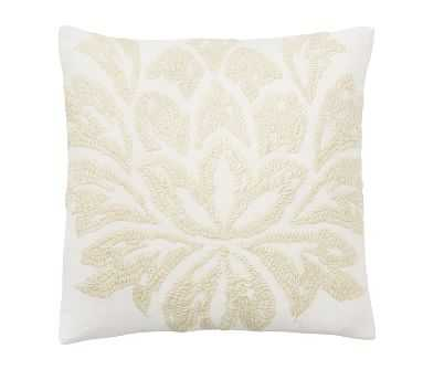 Chantal Embroidered Pillow, 20 Inches, Ivory - Pottery Barn