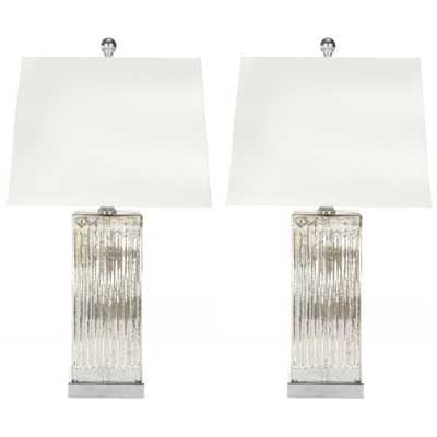 Safavieh Rock 27 in. Crystal Table Lamp with White Shade (Set of 2) - Home Depot