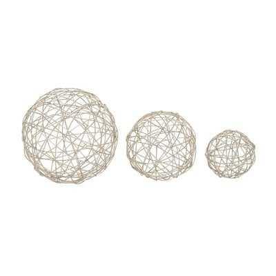 Metal Sphere 3 Piece Sculpture Set - Wayfair