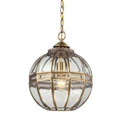 Titan Lighting Randolph 1-Light Brushed Brass and Clear Glass Pendant - Home Depot