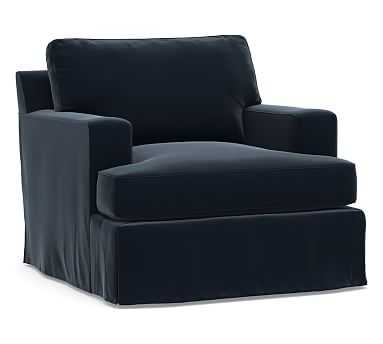 Townsend Square Arm Slipcovered Swivel Armchair, Polyester Wrapped Cushions, Performance Plush Velvet Navy - Pottery Barn