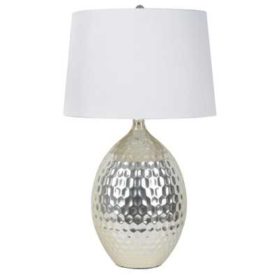 Decor Therapy Hammered 28.5 in. Silver Table Lamp with Faux Silk Shade - Home Depot