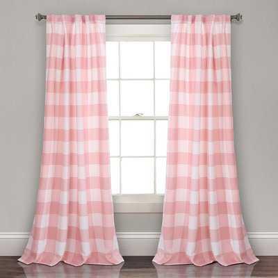 Angeles Checker Room Darkening Rod Pocket Curtain Panels - Birch Lane