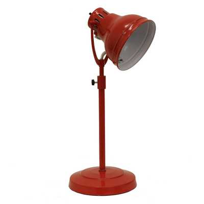 Decor Therapy Desk Task 21 in. Red Table Lamp with Metal Shade - Home Depot