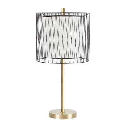 Silverwood Roxie 23 in. Gold Table Lamp with Linen Shade - Home Depot