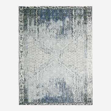 Distressed Ensi Rug, Blue Stone, 8'x10' - West Elm