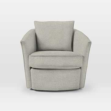 Duffield Swivel Chair, Twill, Stone - West Elm