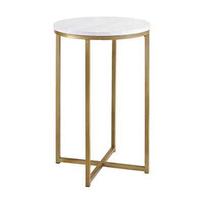 16 Round Side Table - Gold/White - Saracina Home, Faux Marble/Gold - Target