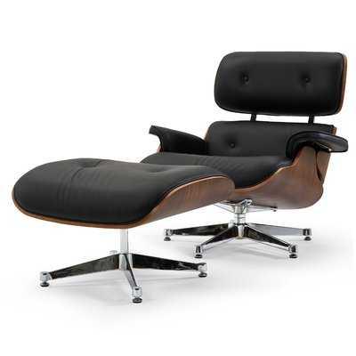 Leather Lounge Chair and Ottoman - Wayfair