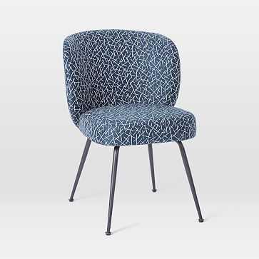 Greer Dining Chair, Blue Line Toss, Antique Bronze - West Elm