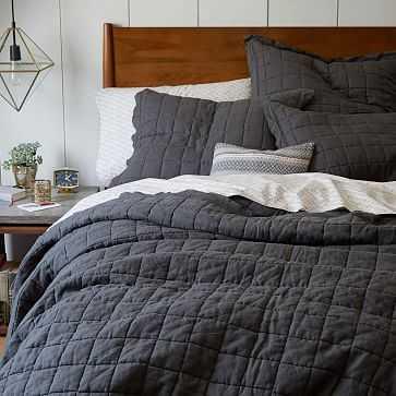 Belgian Linen Quilt, King, Slate - West Elm