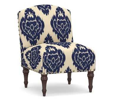 Monroe Upholstered Slipper Chair, Polyester Wrapped Cushions, Elina Blue/Ivory - Pottery Barn